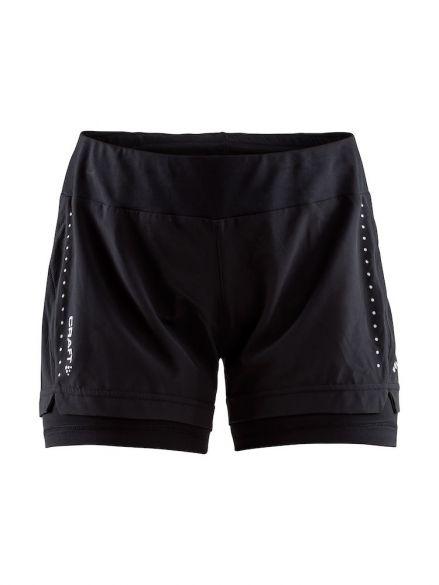 Craft Essential 2-in-1 hardloop short zwart dames  1906029-999000
