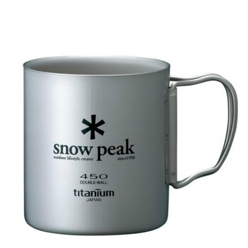 Snow Peak titanium double wall cup 450 ml folding handle (MG-053)   SPMG053