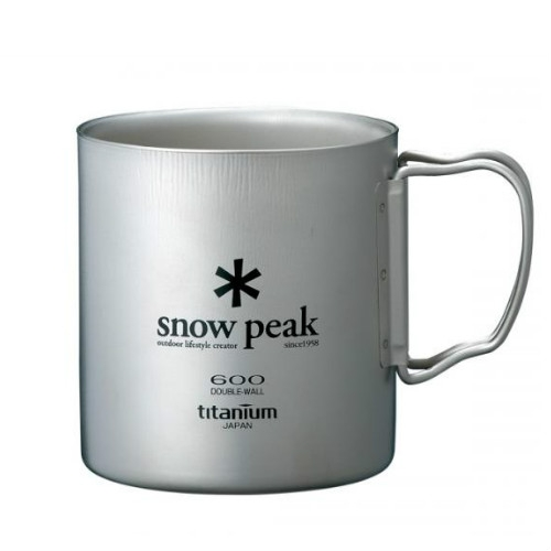 Snow Peak titanium double wall cup 600ml folding handle (MG-054)   SPMG054