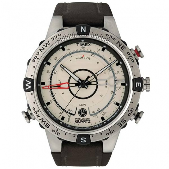 Timex outdoorhorloge IQ Tide Temp Compass beige/RVS/bruine band T2N721  00460848